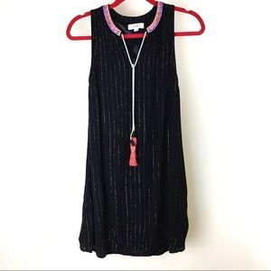THML tunic dress black w/ gold metallic pinstripes